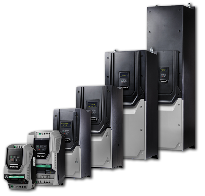 Six P2 Series AC systems vector drives of varying sizes. Fractional through 250HP | Sizes 2, 3, 4, 5, 6, 7