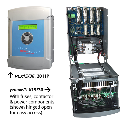 Comparison between a PLX15 DC drive and a powerPLX15