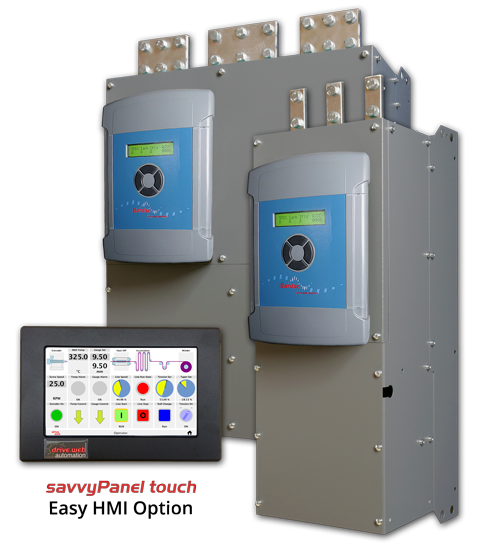 PLX DC Drives - Frame sizes 4 and 5 next to the drive.web savvyPanel touch Easy HMI Option