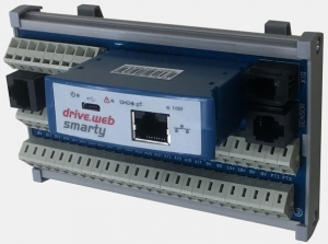 drive.web smarty3 automation controller, viewed at an angle